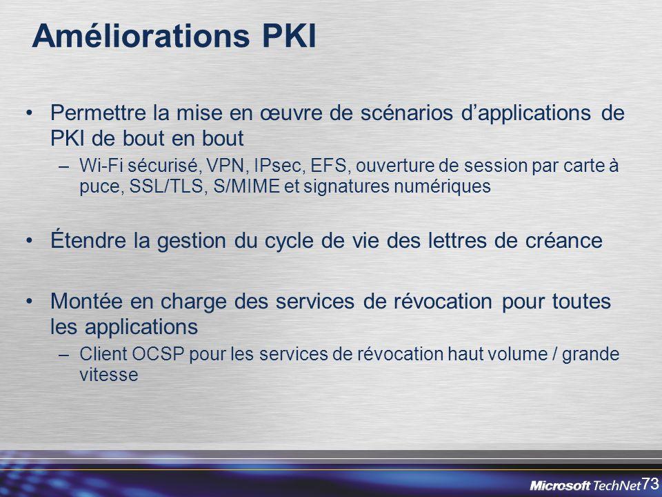 73 Améliorations PKI Permettre la mise en œuvre de scénarios dapplications de PKI de bout en bout –Wi-Fi sécurisé, VPN, IPsec, EFS, ouverture de session par carte à puce, SSL/TLS, S/MIME et signatures numériques Étendre la gestion du cycle de vie des lettres de créance Montée en charge des services de révocation pour toutes les applications –Client OCSP pour les services de révocation haut volume / grande vitesse