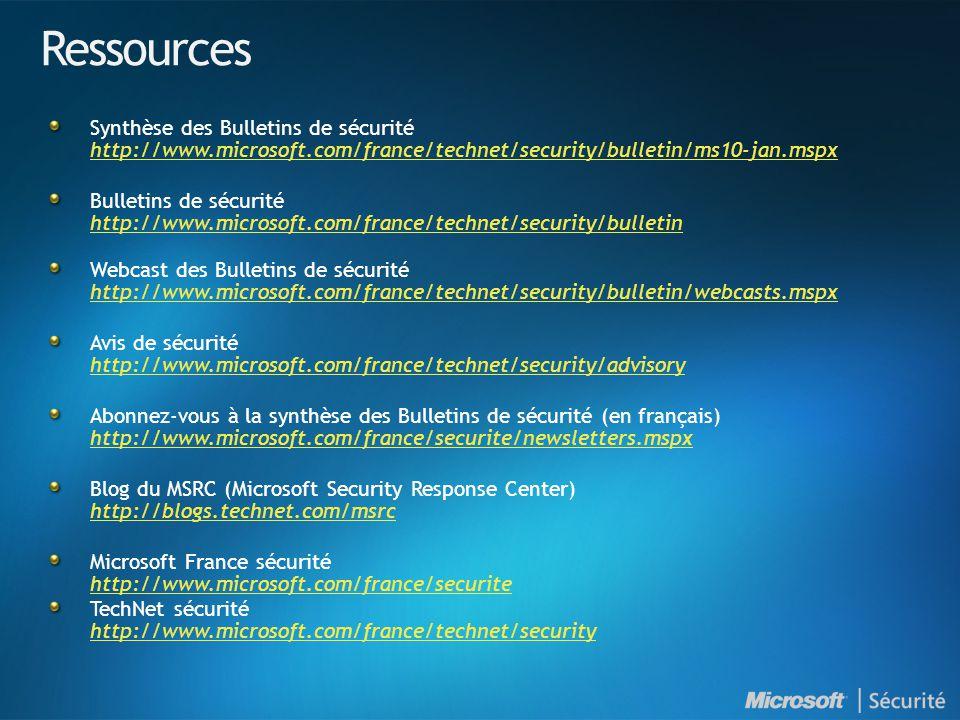 Ressources Synthèse des Bulletins de sécurité http://www.microsoft.com/france/technet/security/bulletin/ms10-jan.mspx http://www.microsoft.com/france/technet/security/bulletin/ms10-jan.mspx Bulletins de sécurité http://www.microsoft.com/france/technet/security/bulletin http://www.microsoft.com/france/technet/security/bulletin Webcast des Bulletins de sécurité http://www.microsoft.com/france/technet/security/bulletin/webcasts.mspx http://www.microsoft.com/france/technet/security/bulletin/webcasts.mspx Avis de sécurité http://www.microsoft.com/france/technet/security/advisory http://www.microsoft.com/france/technet/security/advisory Abonnez-vous à la synthèse des Bulletins de sécurité (en français) http://www.microsoft.com/france/securite/newsletters.mspx http://www.microsoft.com/france/securite/newsletters.mspx Blog du MSRC (Microsoft Security Response Center) http://blogs.technet.com/msrc http://blogs.technet.com/msrc Microsoft France sécurité http://www.microsoft.com/france/securite http://www.microsoft.com/france/securite TechNet sécurité http://www.microsoft.com/france/technet/security http://www.microsoft.com/france/technet/security