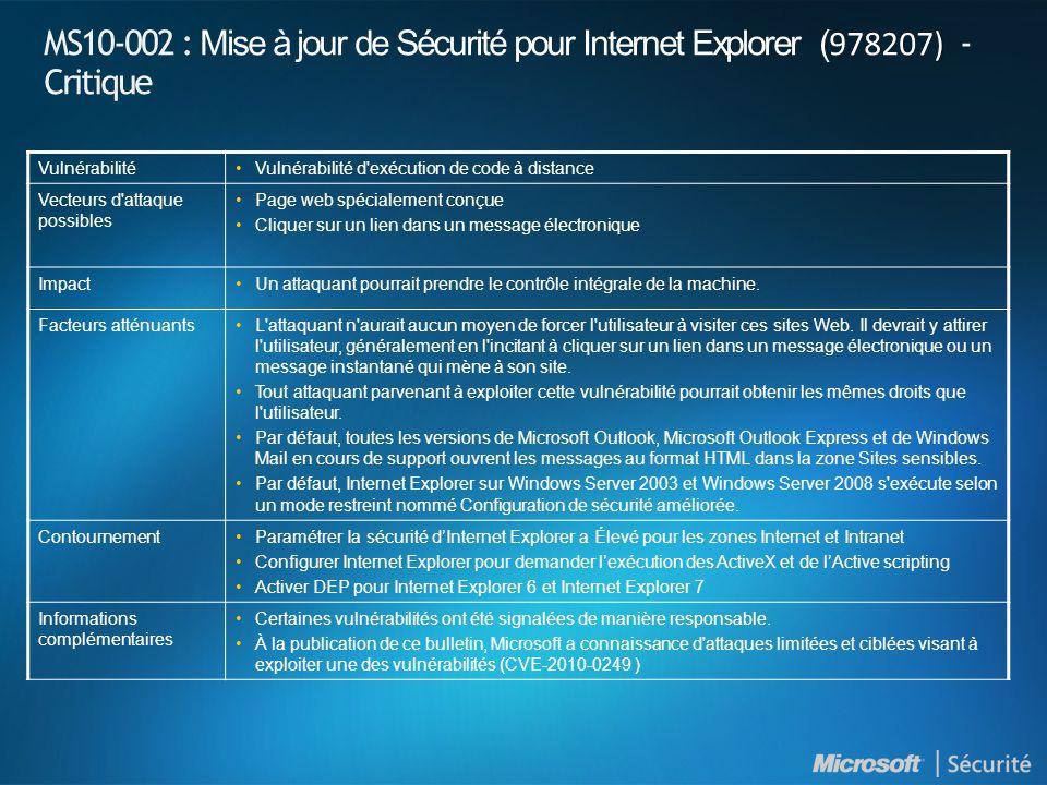 ) MS10-002 : Mise à jour de Sécurité pour Internet Explorer ( 978207) - Critique VulnérabilitéVulnérabilité d exécution de code à distance Vecteurs d attaque possibles Page web spécialement conçue Cliquer sur un lien dans un message électronique ImpactUn attaquant pourrait prendre le contrôle intégrale de la machine.
