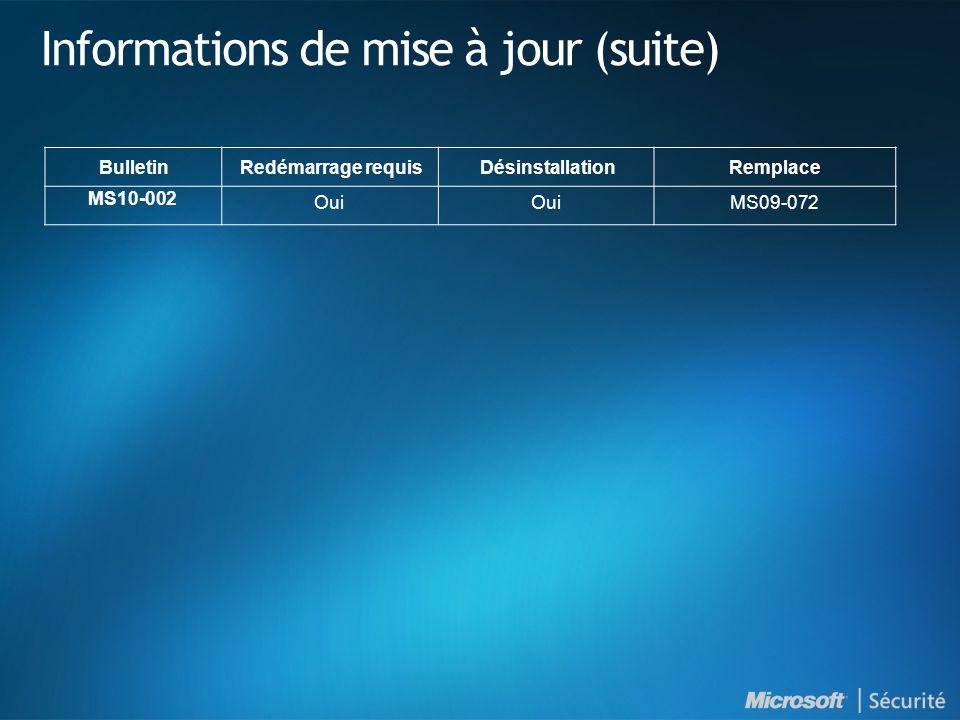 Informations de mise à jour (suite) BulletinRedémarrage requisDésinstallationRemplace MS10-002 Oui MS09-072
