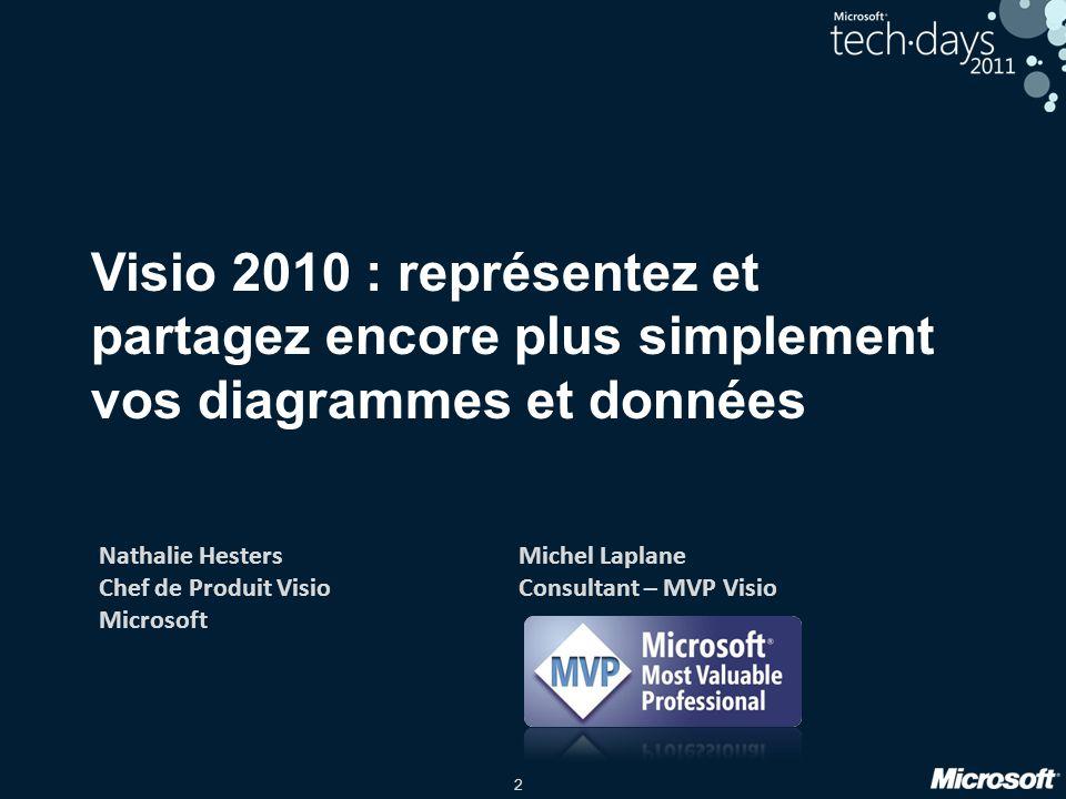 2 Visio 2010 : représentez et partagez encore plus simplement vos diagrammes et données Nathalie Hesters Chef de Produit Visio Microsoft Michel Laplan