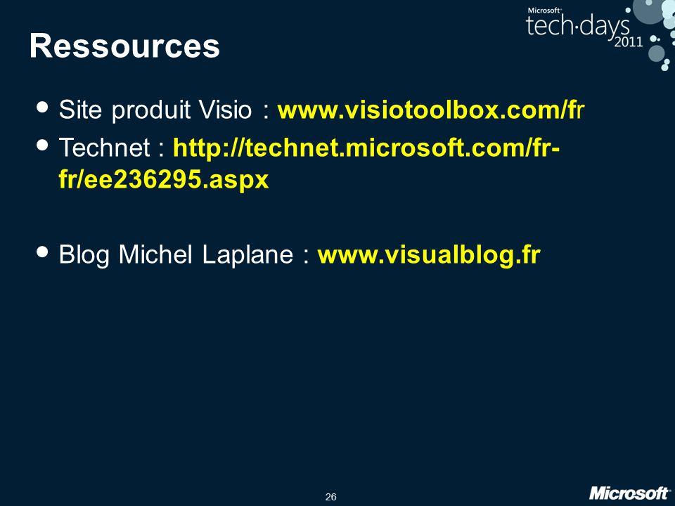 26 Ressources Site produit Visio : www.visiotoolbox.com/fr Technet : http://technet.microsoft.com/fr- fr/ee236295.aspx Blog Michel Laplane : www.visua