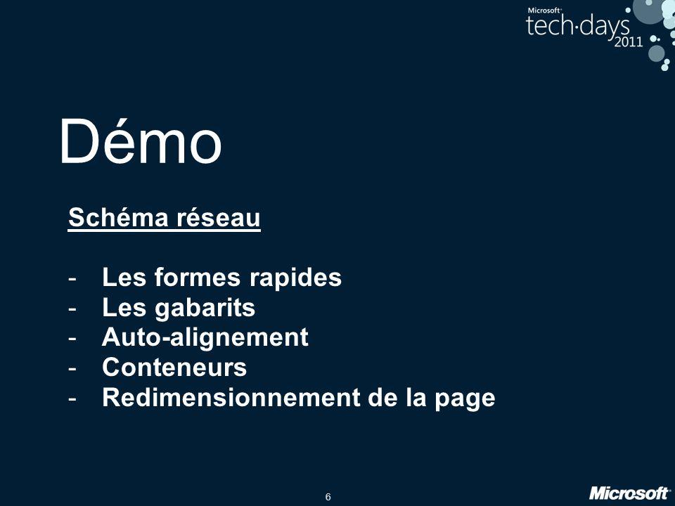 6 Démo Schéma réseau -Les formes rapides -Les gabarits -Auto-alignement -Conteneurs -Redimensionnement de la page