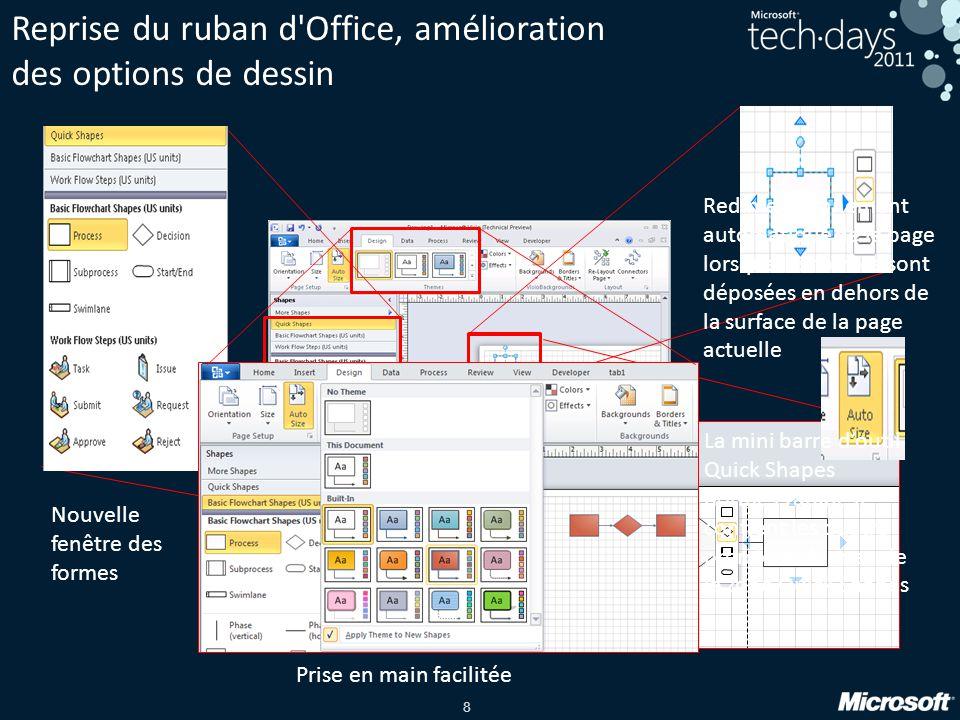 8 Reprise du ruban d'Office, amélioration des options de dessin Prise en main facilitée Nouvelle fenêtre des formes La mini barre doutil Quick Shapes