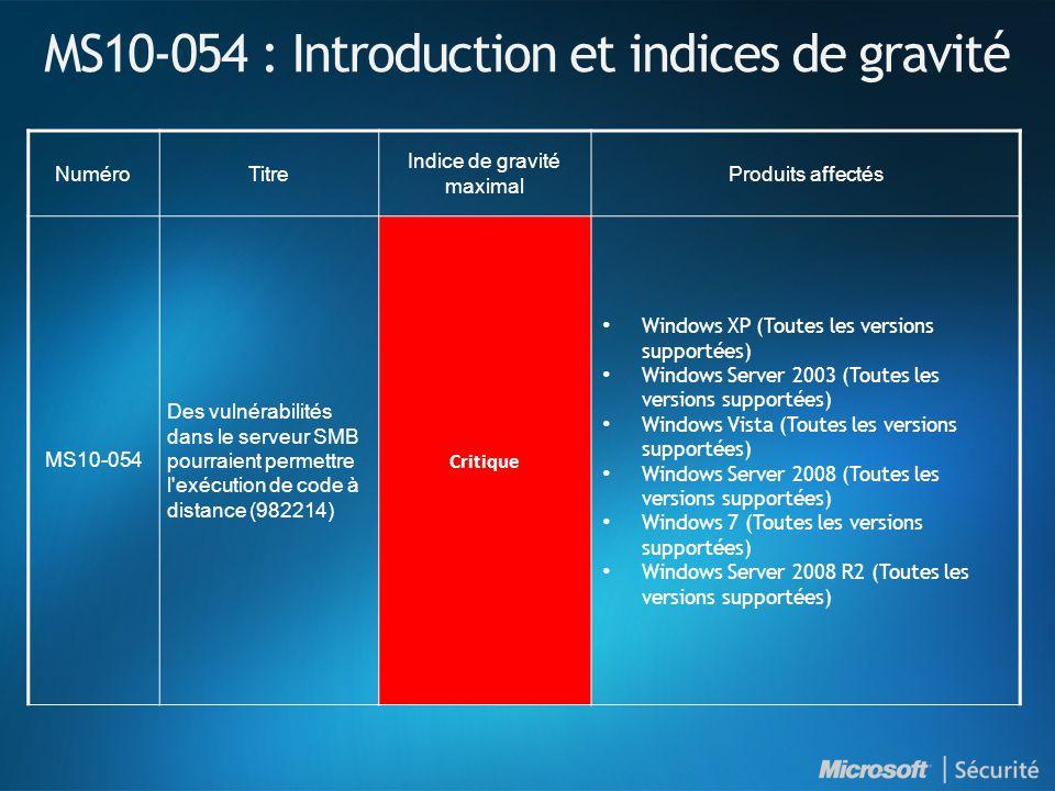 MS10-054 : Introduction et indices de gravité NuméroTitre Indice de gravité maximal Produits affectés MS10-054 Des vulnérabilités dans le serveur SMB pourraient permettre l exécution de code à distance (982214) Critique Windows XP (Toutes les versions supportées) Windows Server 2003 (Toutes les versions supportées) Windows Vista (Toutes les versions supportées) Windows Server 2008 (Toutes les versions supportées) Windows 7 (Toutes les versions supportées) Windows Server 2008 R2 (Toutes les versions supportées)