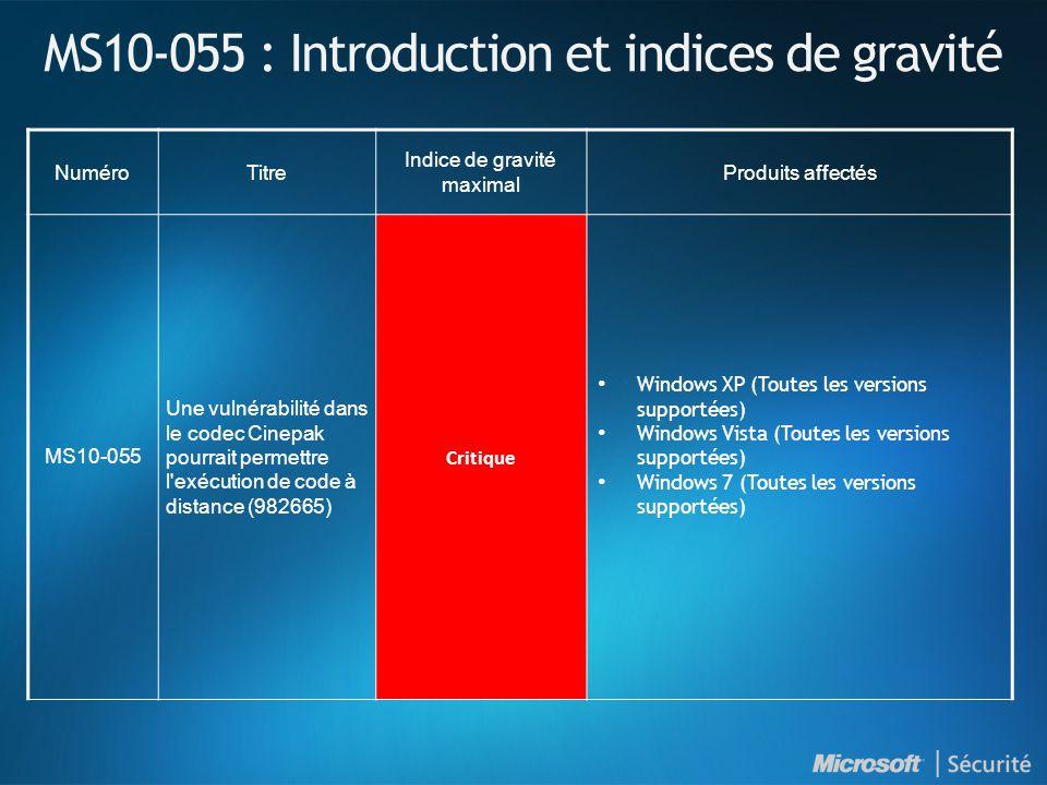 MS10-055 : Introduction et indices de gravité NuméroTitre Indice de gravité maximal Produits affectés MS10-055 Une vulnérabilité dans le codec Cinepak pourrait permettre l exécution de code à distance (982665) Critique Windows XP (Toutes les versions supportées) Windows Vista (Toutes les versions supportées) Windows 7 (Toutes les versions supportées)