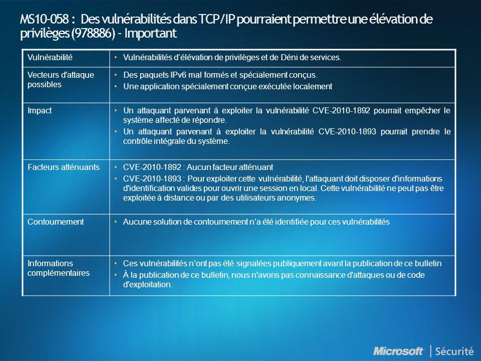 MS10-058 : Des vulnérabilités dans TCP/IP pourraient permettre une élévation de privilèges (978886) - Important VulnérabilitéVulnérabilités délévation de privilèges et de Déni de services.