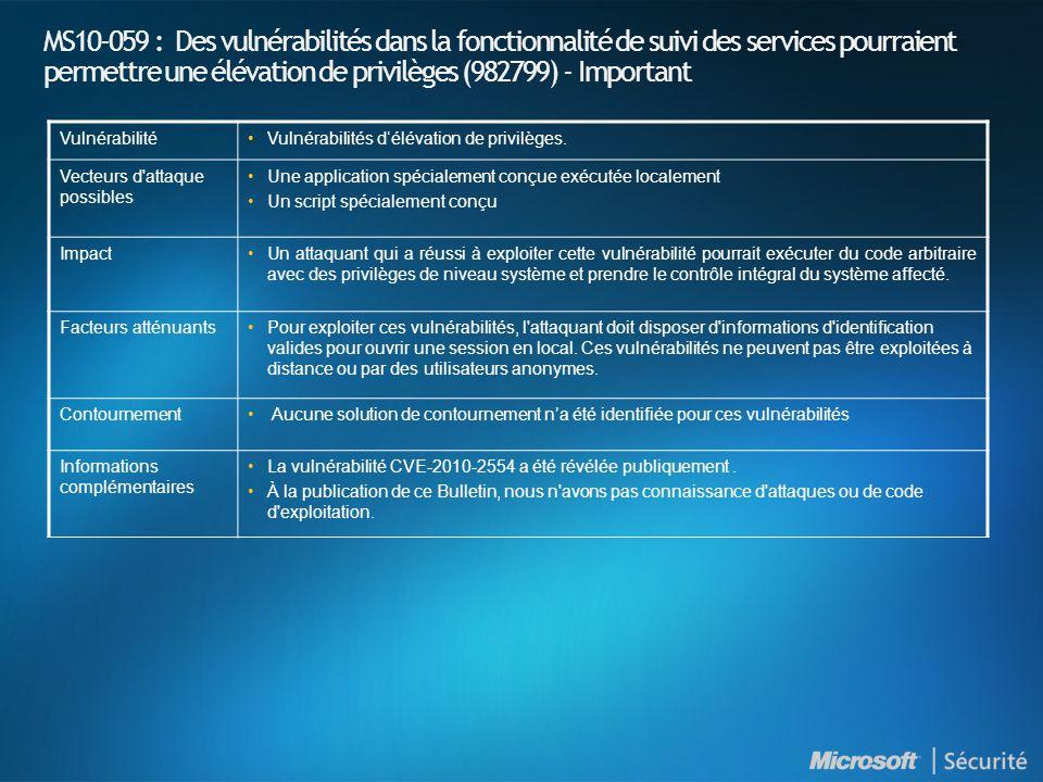 MS10-059 : Des vulnérabilités dans la fonctionnalité de suivi des services pourraient permettre une élévation de privilèges (982799) - Important VulnérabilitéVulnérabilités délévation de privilèges.
