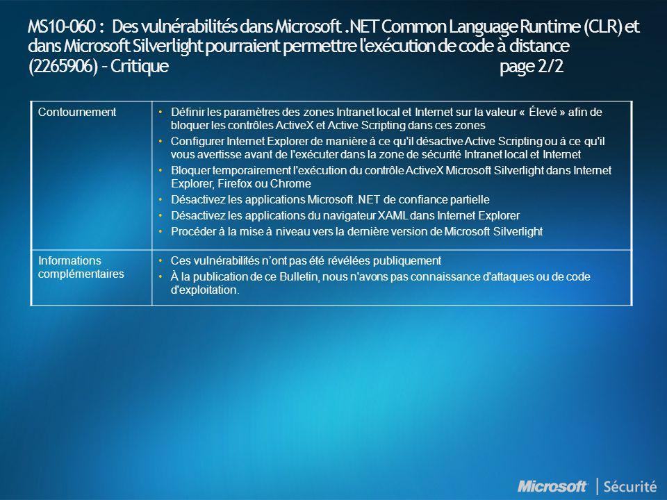 MS10-060 : Des vulnérabilités dans Microsoft.NET Common Language Runtime (CLR) et dans Microsoft Silverlight pourraient permettre l exécution de code à distance (2265906) – Critique page 2/2 ContournementDéfinir les paramètres des zones Intranet local et Internet sur la valeur « Élevé » afin de bloquer les contrôles ActiveX et Active Scripting dans ces zones Configurer Internet Explorer de manière à ce qu il désactive Active Scripting ou à ce qu il vous avertisse avant de l exécuter dans la zone de sécurité Intranet local et Internet Bloquer temporairement l exécution du contrôle ActiveX Microsoft Silverlight dans Internet Explorer, Firefox ou Chrome Désactivez les applications Microsoft.NET de confiance partielle Désactivez les applications du navigateur XAML dans Internet Explorer Procéder à la mise à niveau vers la dernière version de Microsoft Silverlight Informations complémentaires Ces vulnérabilités nont pas été révélées publiquement À la publication de ce Bulletin, nous n avons pas connaissance d attaques ou de code d exploitation.