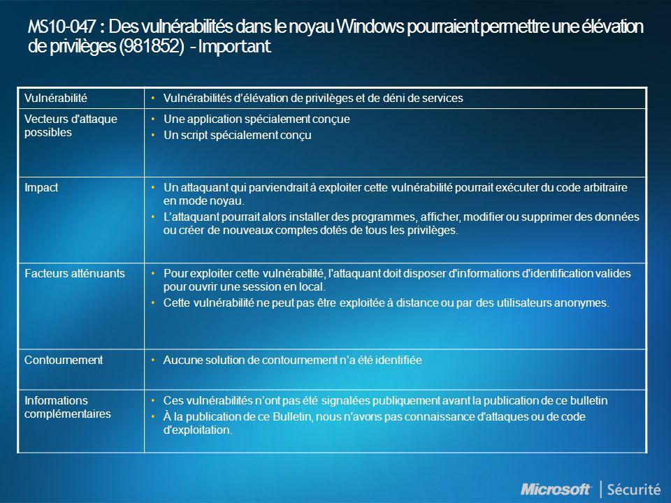 MS10-047 : Des vulnérabilités dans le noyau Windows pourraient permettre une élévation de privilèges (981852) - Important VulnérabilitéVulnérabilités délévation de privilèges et de déni de services Vecteurs d attaque possibles Une application spécialement conçue Un script spécialement conçu ImpactUn attaquant qui parviendrait à exploiter cette vulnérabilité pourrait exécuter du code arbitraire en mode noyau.