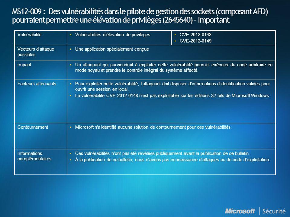 MS12-009 : Des vulnérabilités dans le pilote de gestion des sockets (composant AFD) pourraient permettre une élévation de privilèges (2645640) - Important VulnérabilitéVulnérabilités délévation de privilègesCVE-2012-0148 CVE-2012-0149 Vecteurs d attaque possibles Une application spécialement conçue ImpactUn attaquant qui parviendrait à exploiter cette vulnérabilité pourrait exécuter du code arbitraire en mode noyau et prendre le contrôle intégral du système affecté.