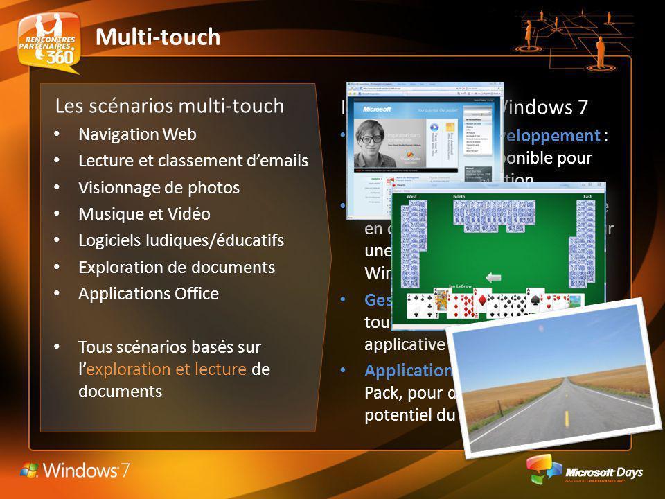 Les scénarios multi-touch Navigation Web Lecture et classement demails Visionnage de photos Musique et Vidéo Logiciels ludiques/éducatifs Exploration