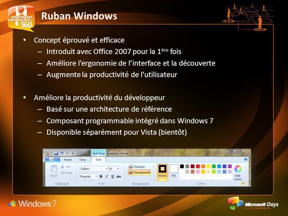 Ruban Windows Concept éprouvé et efficace – Introduit avec Office 2007 pour la 1 ère fois – Améliore lergonomie de linterface et la découverte – Augme