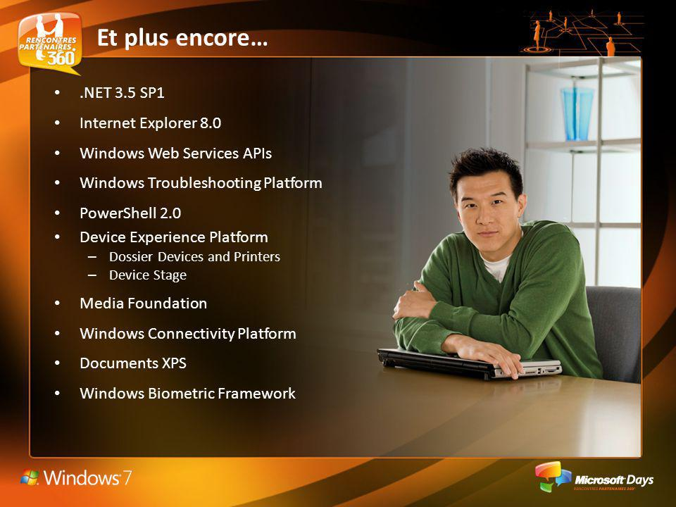 .NET 3.5 SP1 Internet Explorer 8.0 Windows Web Services APIs Windows Troubleshooting Platform PowerShell 2.0 Device Experience Platform – Dossier Devices and Printers – Device Stage Media Foundation Windows Connectivity Platform Documents XPS Windows Biometric Framework Et plus encore…
