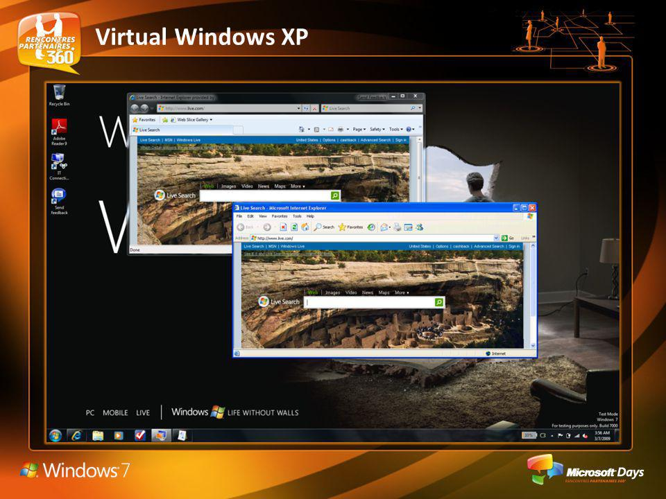 Image virtuelle VHD de Windows XP pré-configurée Licence intégrée à Windows 7 Professionnel, Entreprise et Intégrale Intégration dans le bureau de Windows 7 – Publication et éxecution dapplications – Redirection de Mes Documents – Redirection dimprimantes – Redirection de SmartCard – Partage du Presse-Papier Support USB Support Multi-Thread Support des Hautes Résolutions Requiert processeurs AMD-V ou Intel-VT Virtual Windows XP