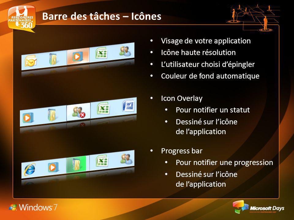 Barre des tâches – Icônes Visage de votre application Icône haute résolution Lutilisateur choisi dépingler Couleur de fond automatique Icon Overlay Po
