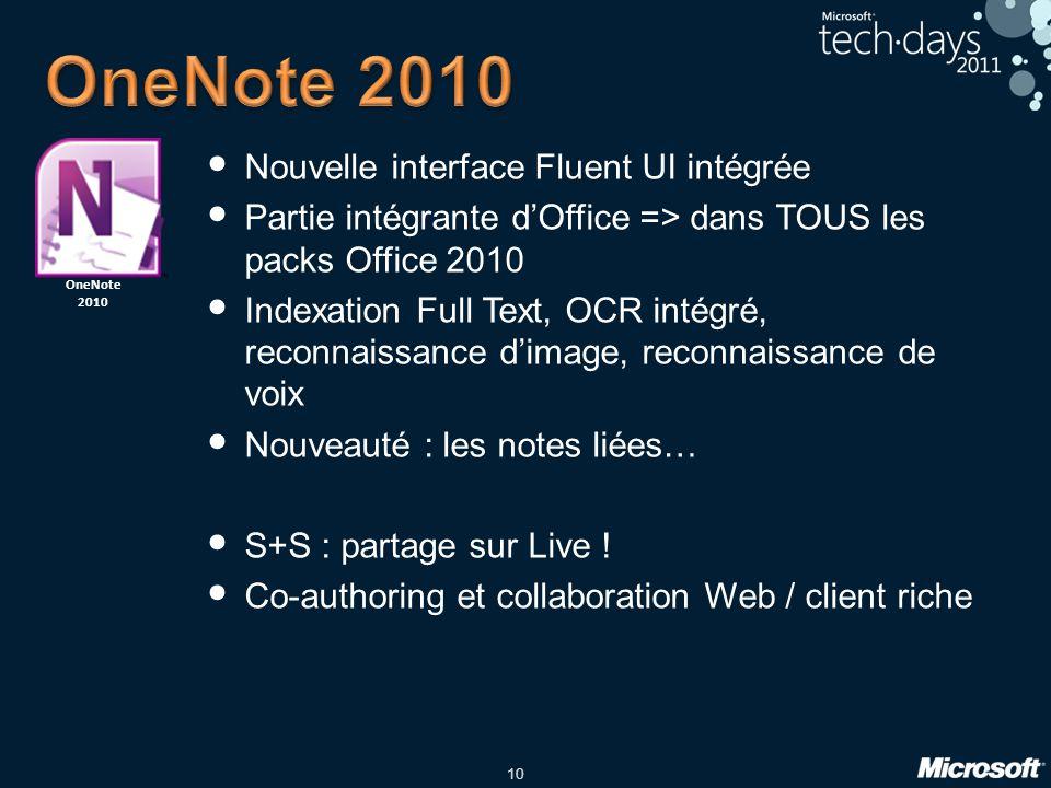 10 Nouvelle interface Fluent UI intégrée Partie intégrante dOffice => dans TOUS les packs Office 2010 Indexation Full Text, OCR intégré, reconnaissance dimage, reconnaissance de voix Nouveauté : les notes liées… S+S : partage sur Live .