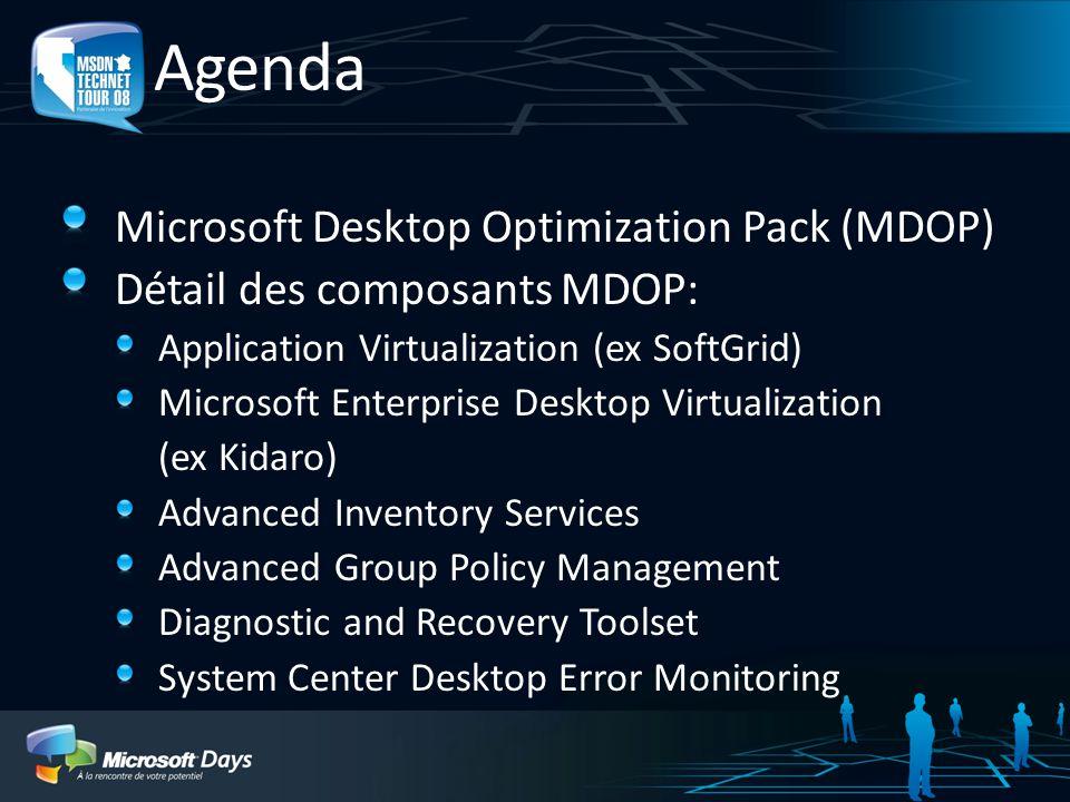 Agenda Microsoft Desktop Optimization Pack (MDOP) Détail des composants MDOP: Application Virtualization (ex SoftGrid) Microsoft Enterprise Desktop Vi