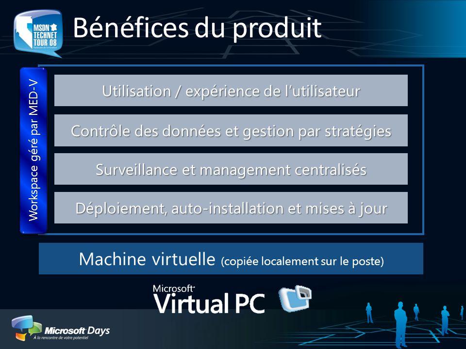 Machine virtuelle (copiée localement sur le poste) Bénéfices du produit Déploiement, auto-installation et mises à jour Surveillance et management cent