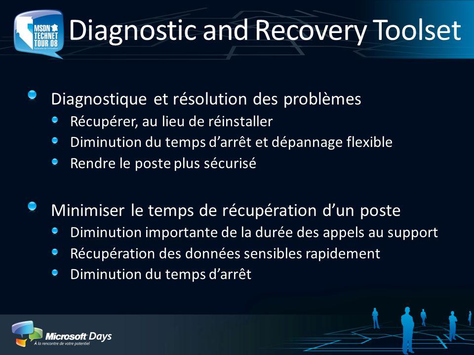 Diagnostic and Recovery Toolset Diagnostique et résolution des problèmes Récupérer, au lieu de réinstaller Diminution du temps darrêt et dépannage fle