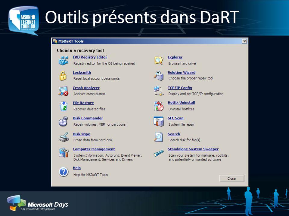 Outils présents dans DaRT