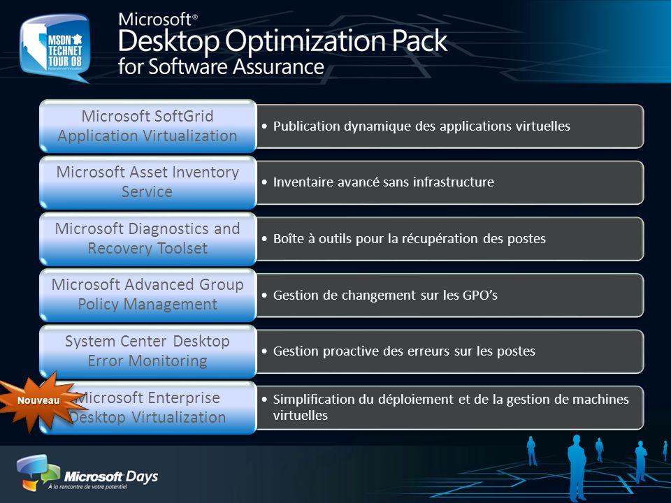 Publication dynamique des applications virtuelles Microsoft SoftGrid Application Virtualization Inventaire avancé sans infrastructure Microsoft Asset