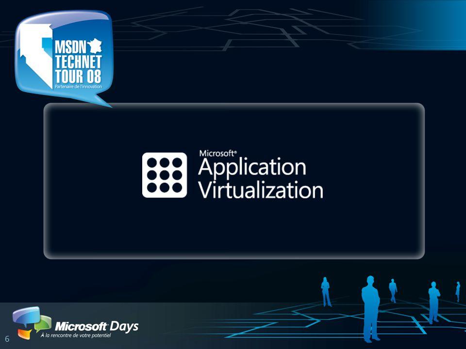Microsoft Application Virtualization App-V (ex SoftGrid) Virtualisation applicative Sur client Windows et Terminal Server Plusieurs méthodes de déploiement Streaming dapplications Intégration avec les outils de télédistribution Mises à jour dynamiques et centralisées Gestion centralisée dautorisations et licences Logiciels en tant que services