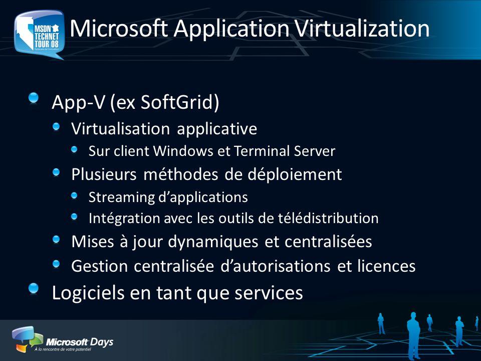 Microsoft Application Virtualization App-V (ex SoftGrid) Virtualisation applicative Sur client Windows et Terminal Server Plusieurs méthodes de déploi