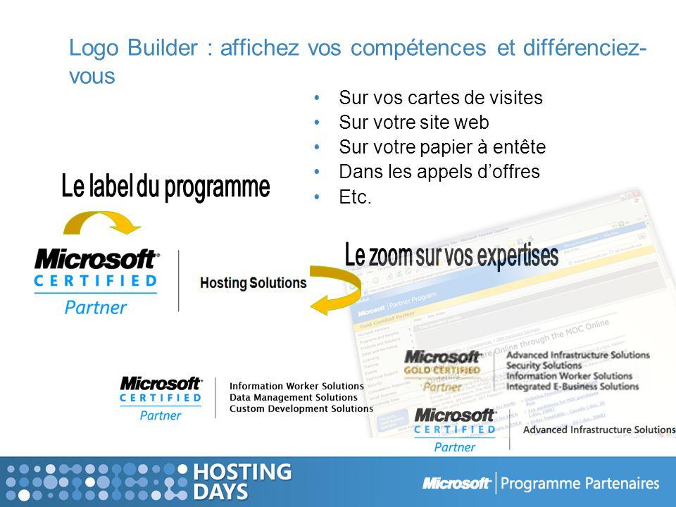 Logo Builder : affichez vos compétences et différenciez- vous Sur vos cartes de visites Sur votre site web Sur votre papier à entête Dans les appels doffres Etc.