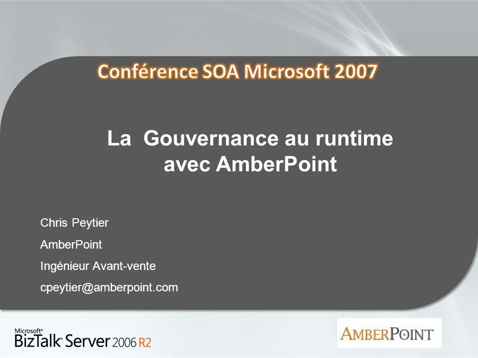 30/05/20142 2 Thèmes Bref rappel sur AmberPoint La Gouvernance au Runtime des environnements SOA Le Produit AmberPoint – Fonctionnalités – Architecture – Intégration avec loffre Microsoft