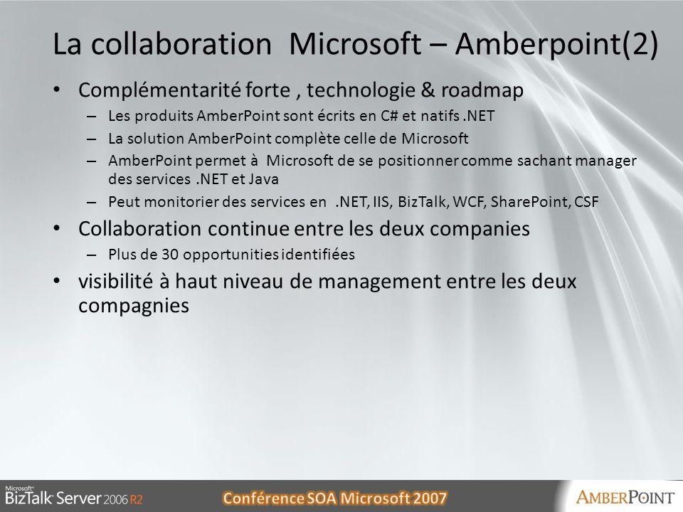 30/05/20145 5 La collaboration Microsoft – Amberpoint(2) Complémentarité forte, technologie & roadmap – Les produits AmberPoint sont écrits en C# et n