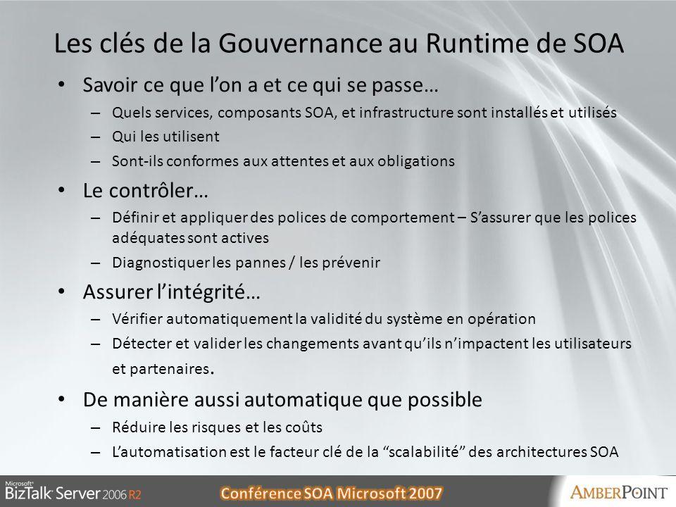 30/05/20148 8 Les clés de la Gouvernance au Runtime de SOA Savoir ce que lon a et ce qui se passe… – Quels services, composants SOA, et infrastructure