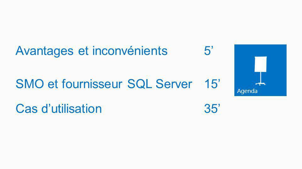 Agenda Avantages et inconvénients5 SMO et fournisseur SQL Server 15 Cas dutilisation35