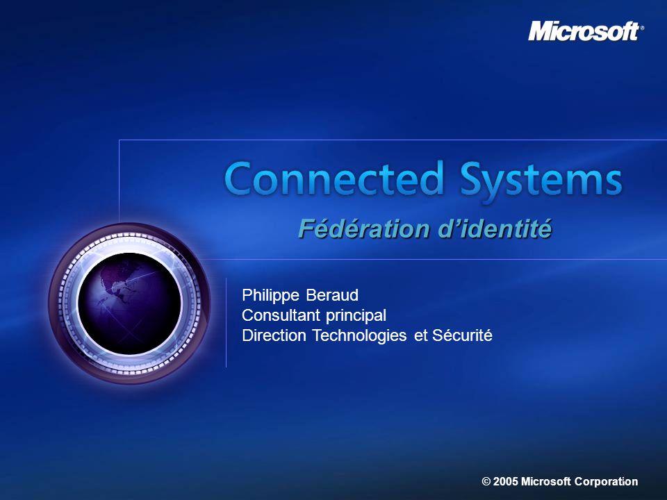 Philippe Beraud Consultant principal Direction Technologies et Sécurité © 2005 Microsoft Corporation Fédération didentité 1