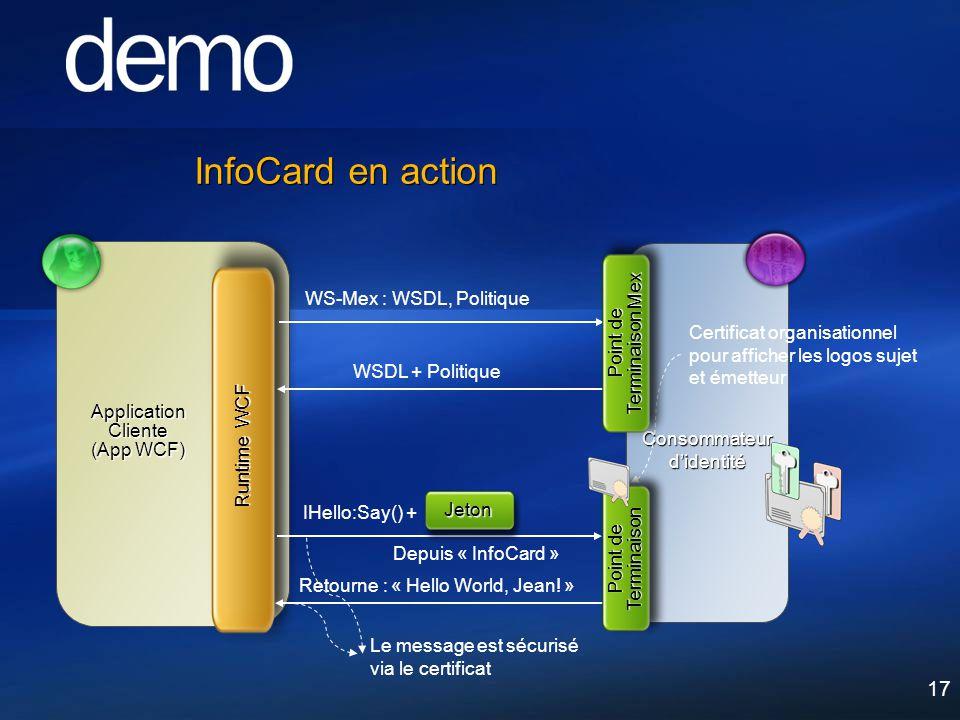 17 InfoCard en action Consommateur didentité Runtime WCF Application Cliente (App WCF) IHello:Say() + Retourne : « Hello World, Jean! » Jeton Depuis «