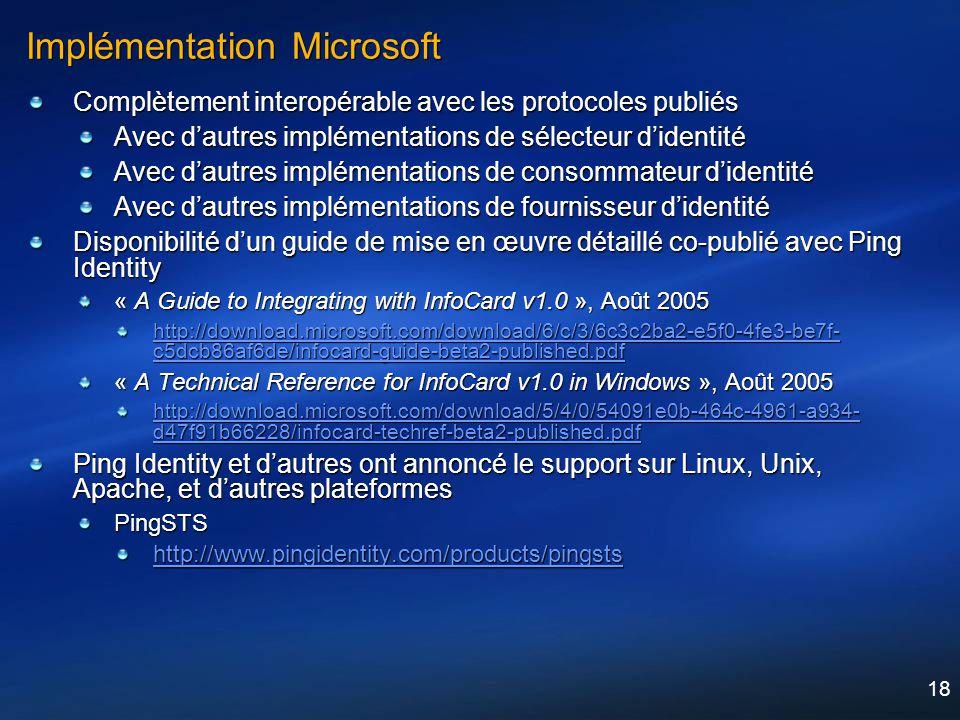 18 Implémentation Microsoft Complètement interopérable avec les protocoles publiés Avec dautres implémentations de sélecteur didentité Avec dautres im