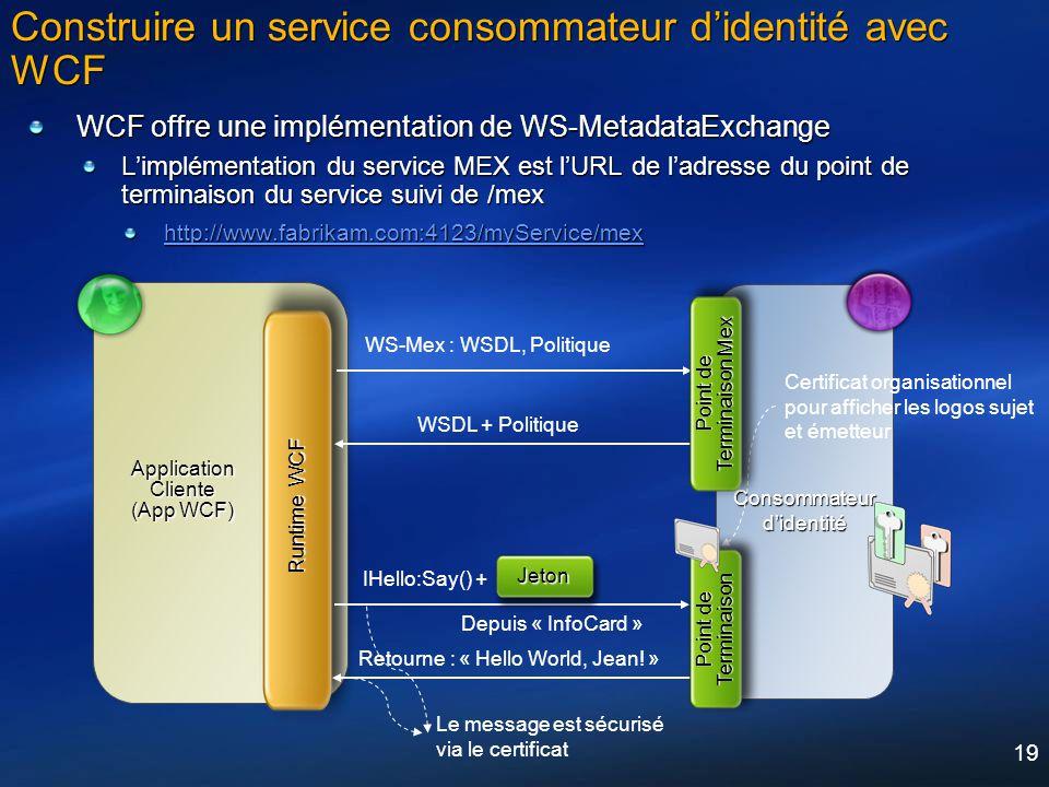 19 Construire un service consommateur didentité avec WCF WCF offre une implémentation de WS-MetadataExchange Limplémentation du service MEX est lURL d