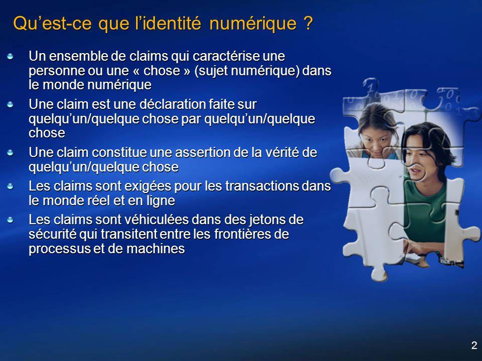 2 Quest-ce que lidentité numérique ? Un ensemble de claims qui caractérise une personne ou une « chose » (sujet numérique) dans le monde numérique Une
