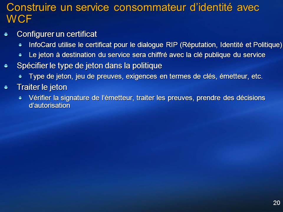 20 Construire un service consommateur didentité avec WCF Configurer un certificat InfoCard utilise le certificat pour le dialogue RIP (Réputation, Ide