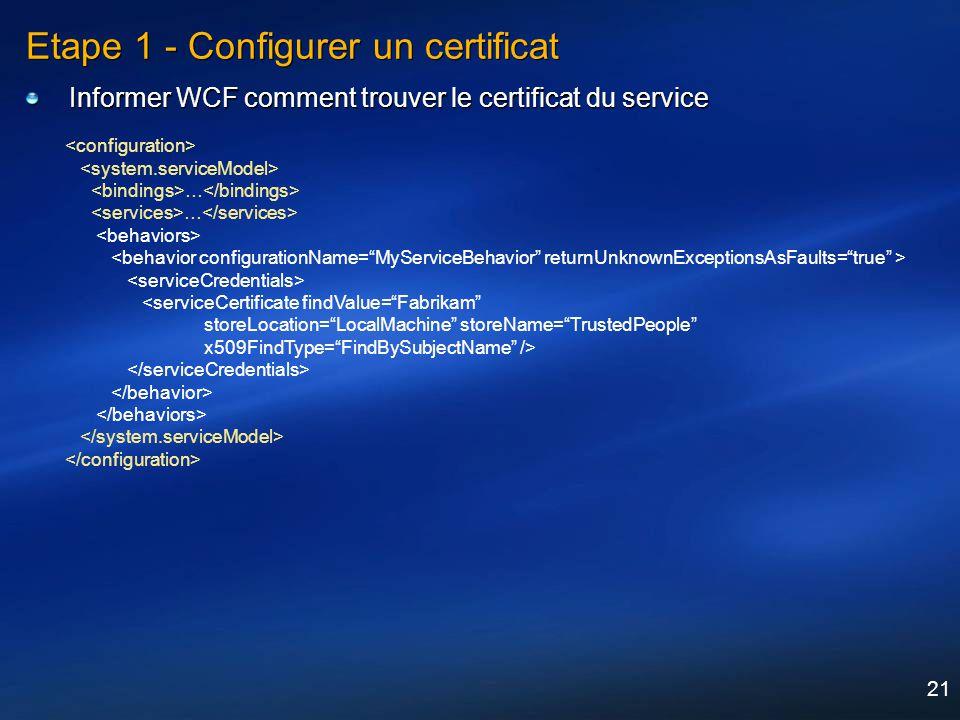 21 Etape 1 - Configurer un certificat Informer WCF comment trouver le certificat du service … <serviceCertificate findValue=Fabrikam storeLocation=Loc