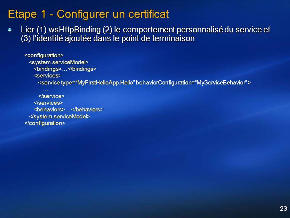 23 Etape 1 - Configurer un certificat Lier (1) wsHttpBinding (2) le comportement personnalisé du service et (3) lidentité ajoutée dans le point de ter