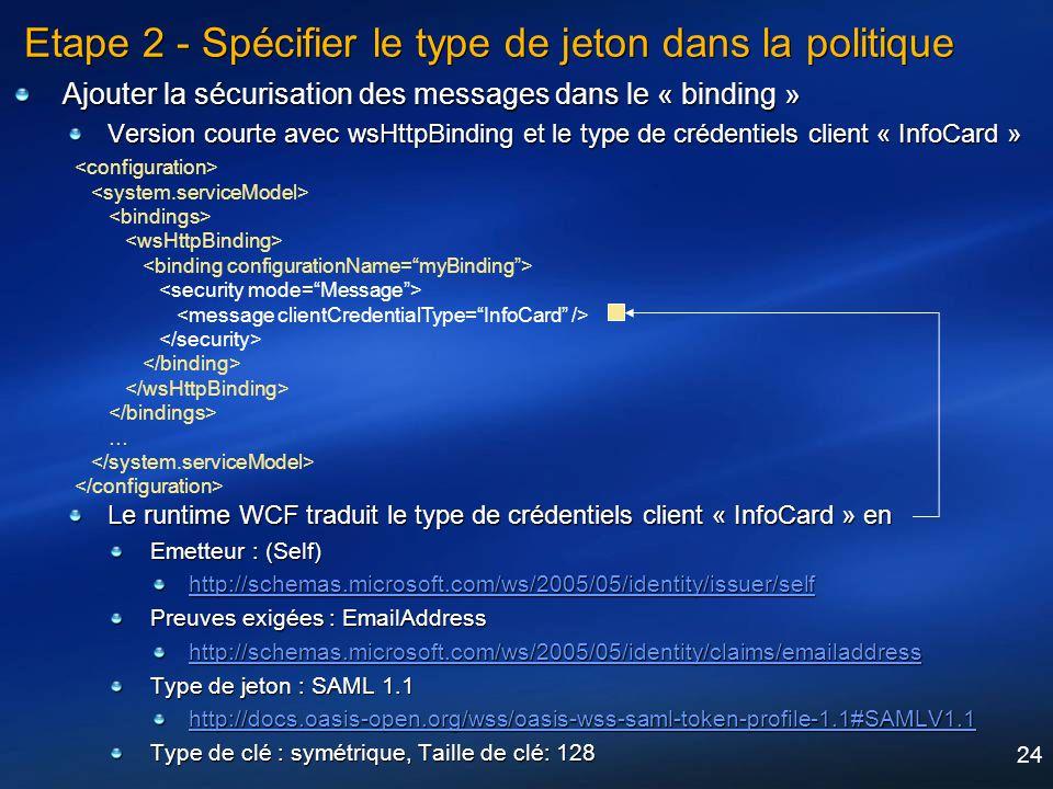 24 Etape 2 - Spécifier le type de jeton dans la politique Ajouter la sécurisation des messages dans le « binding » Version courte avec wsHttpBinding e