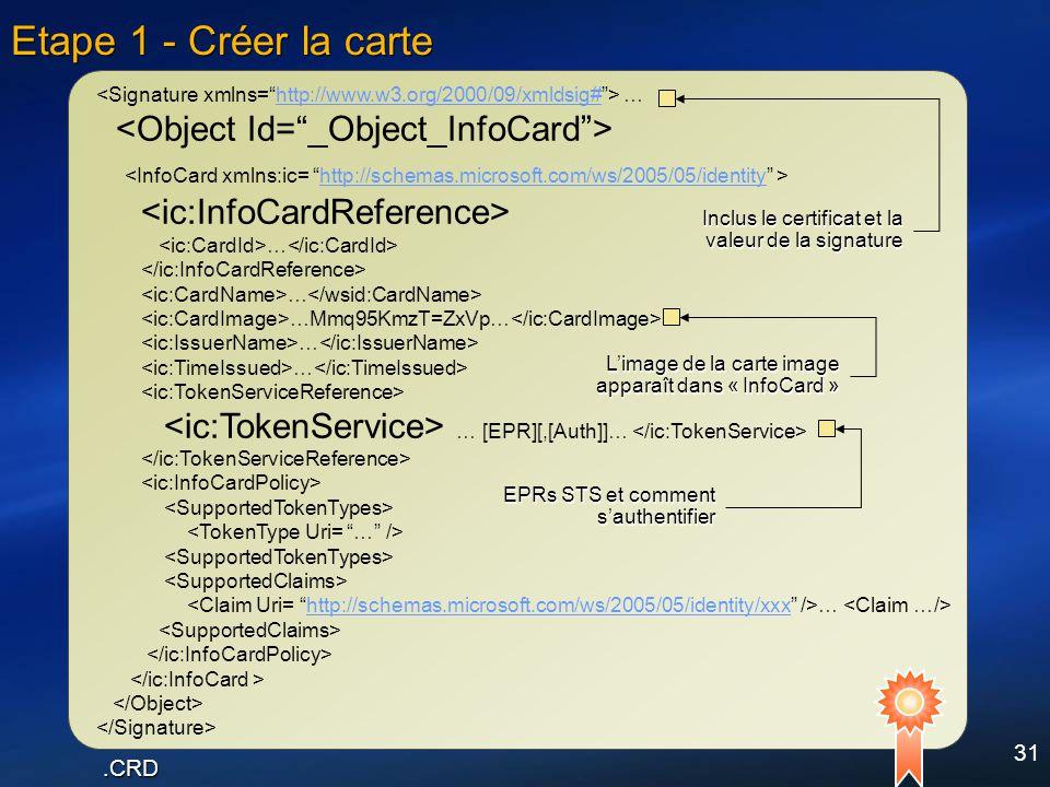 31 Etape 1 - Créer la carte …http://www.w3.org/2000/09/xmldsig# http://schemas.microsoft.com/ws/2005/05/identity … … …Mmq95KmzT=ZxVp… … … … [EPR][,[Au