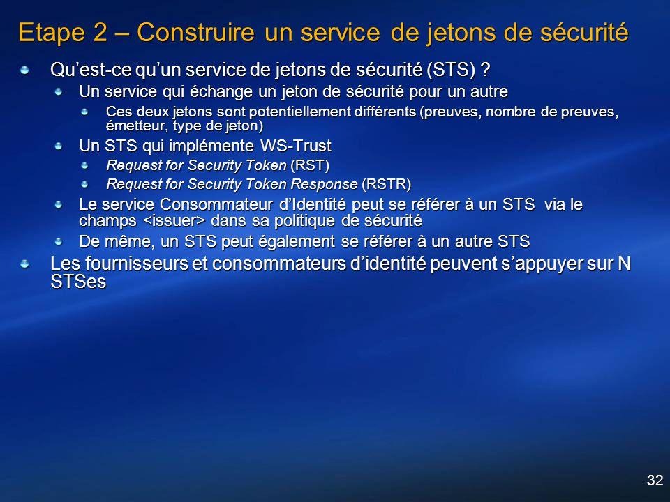 32 Etape 2 – Construire un service de jetons de sécurité Quest-ce quun service de jetons de sécurité (STS) ? Un service qui échange un jeton de sécuri