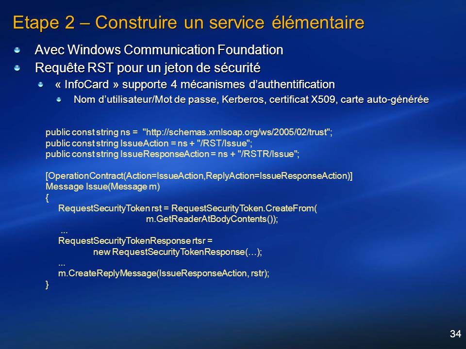 34 Etape 2 – Construire un service élémentaire Avec Windows Communication Foundation Requête RST pour un jeton de sécurité « InfoCard » supporte 4 méc