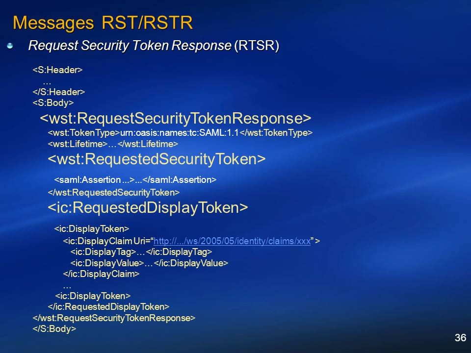 36 Messages RST/RSTR Request Security Token Response (RTSR) … urn:oasis:names:tc:SAML:1.1 …... http://.../ws/2005/05/identity/claims/xxx … …