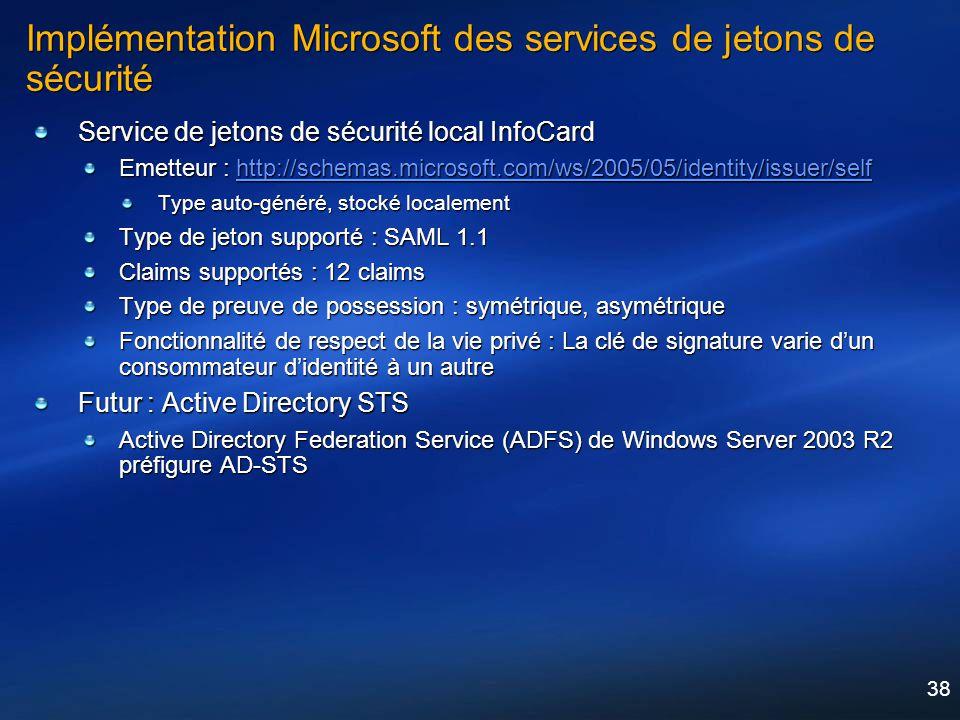 38 Implémentation Microsoft des services de jetons de sécurité Service de jetons de sécurité local InfoCard Emetteur : http://schemas.microsoft.com/ws