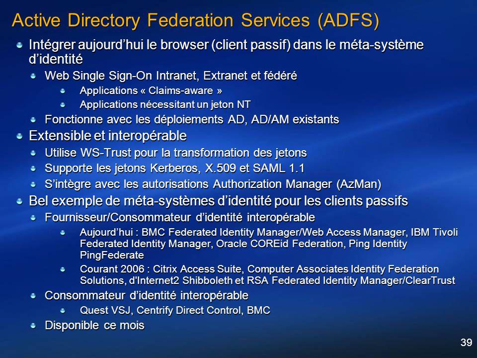 39 Active Directory Federation Services (ADFS) Intégrer aujourdhui le browser (client passif) dans le méta-système didentité Web Single Sign-On Intran