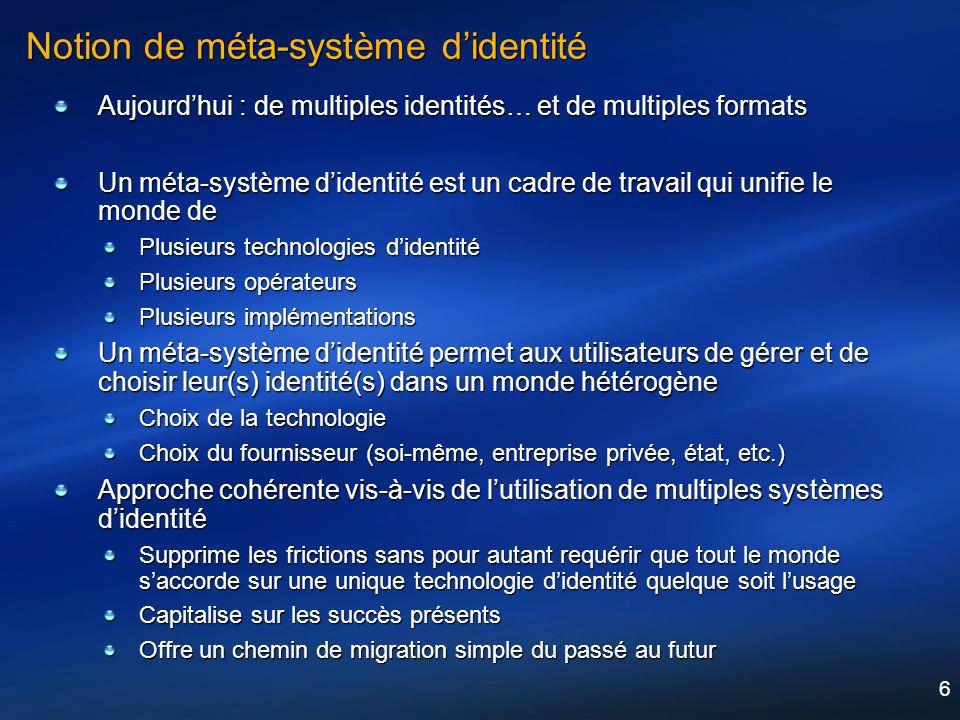 6 Notion de méta-système didentité Aujourdhui : de multiples identités… et de multiples formats Un méta-système didentité est un cadre de travail qui