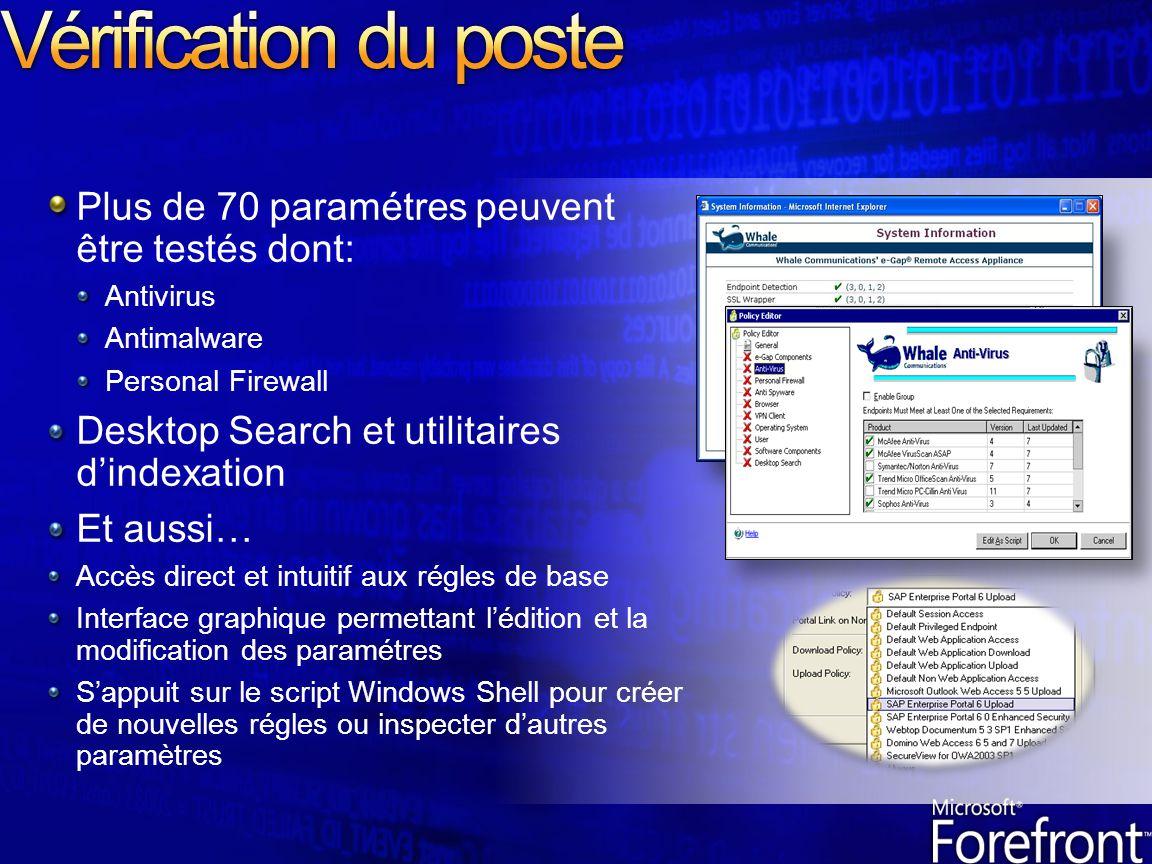 Plus de 70 paramétres peuvent être testés dont: Antivirus Antimalware Personal Firewall Desktop Search et utilitaires dindexation Et aussi… Accès dire